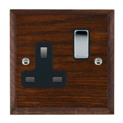 Hamilton Woods Chamfered Antique Mahogany 1 Gang 13A Switched Socket with Black Insert