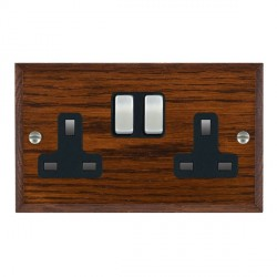 Hamilton Woods Chamfered Antique Mahogany 2 Gang 13A Switched Socket with Black Insert