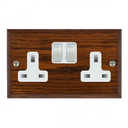 Hamilton Woods Chamfered Antique Mahogany 2 Gang 13A Switched Socket with White Insert