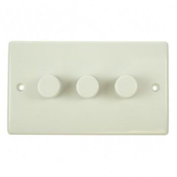 BG Nexus White PVC 3 Gang Dimmer Switch