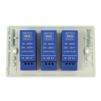 BG Nexus White PVC 3 Gang Dimmer Switch