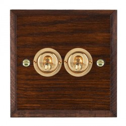 Hamilton Woods Chamfered Antique Mahogany 2 Gang 2 Way Toggle with Polished Brass Insert