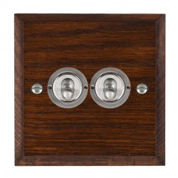 Hamilton Woods Chamfered Antique Mahogany 2 Gang 2 Way Toggle with Satin Chrome Insert