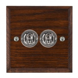 Hamilton Woods Chamfered Antique Mahogany 2 Gang 2 Way Toggle with Bright Chrome Insert