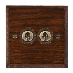 Hamilton Woods Chamfered Antique Mahogany 2 Gang 2 Way Toggle with Antique Brass Insert