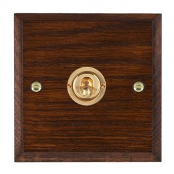 Hamilton Woods Chamfered Antique Mahogany 1 Gang Intermediate Toggle with Polished Brass Insert