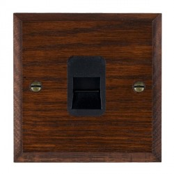Hamilton Woods Chamfered Antique Mahogany 1 Gang Telephone Master Outlet with Black Insert