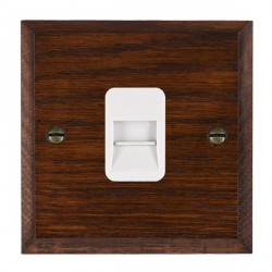 Hamilton Woods Chamfered Antique Mahogany 1 Gang Telephone Master Outlet with White Insert