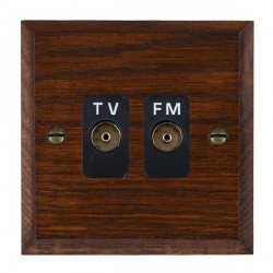 Hamilton Woods Chamfered Antique Mahogany 2 Gang Isolated TV/FM 1 in/2 out Outlet with Black Insert