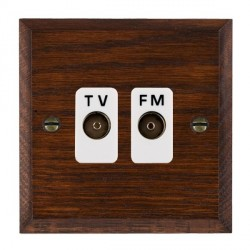 Hamilton Woods Chamfered Antique Mahogany 2 Gang Isolated TV/FM 1 in/2 out Outlet with White Insert