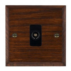 Hamilton Woods Chamfered Antique Mahogany 1 Gang Isolated TV 1 in/1 out Outlet with Black Insert