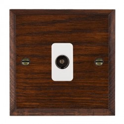Hamilton Woods Chamfered Antique Mahogany 1 Gang Isolated TV 1 in/1 out Outlet with White Insert