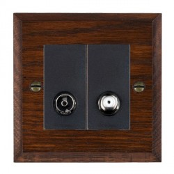Hamilton Woods Chamfered Antique Mahogany 1 Gang TV + 1 Gang Satellite Outlet with Black Insert