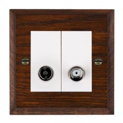 Hamilton Woods Chamfered Antique Mahogany 1 Gang TV + 1 Gang Satellite Outlet with White Insert