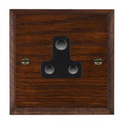 Hamilton Woods Chamfered Antique Mahogany 1 Gang 5A Unswitched Socket with Black Insert
