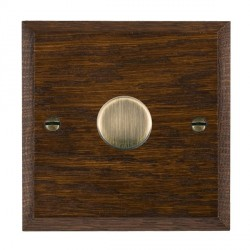 Hamilton Woods Chamfered Dark Oak 1 Gang 2 way 300VA Dimmer with Antique Brass Insert