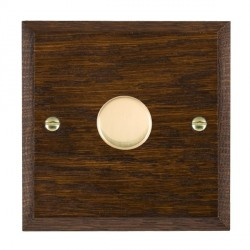 Hamilton Woods Chamfered Dark Oak 1 Gang 2 way 600W Dimmer with Polished Brass Insert