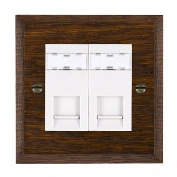 Hamilton Woods Chamfered Dark Oak 2 Gang RJ12 Outlet Unshielded Outlet with White Insert