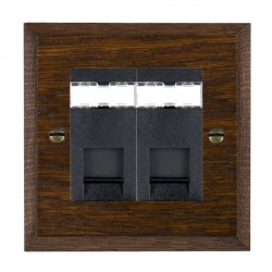 Hamilton Woods Chamfered Dark Oak 2 Gang RJ45 Cat 5E Unshielded Outlet with Black Insert