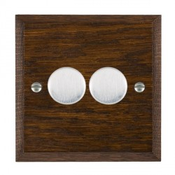 Hamilton Woods Chamfered Dark Oak 2 Gang Multi-way 250W/VA Dimmer with Satin Chrome Insert