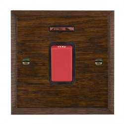 Hamilton Woods Chamfered Dark Oak 1 Gang 45A Double Pole Red + Neon Rocker with Black Insert