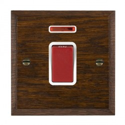 Hamilton Woods Chamfered Dark Oak 1 Gang 45A Double Pole Red + Neon Rocker with White Insert