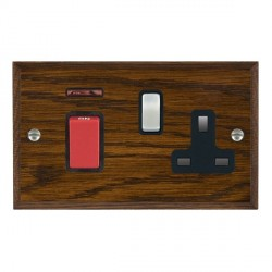Hamilton Woods Chamfered Dark Oak 1 Gang 45A Double Pole Red + Neon + 1 Gang 13A Switched Socket with Black Insert
