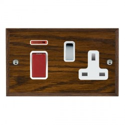 Hamilton Woods Chamfered Dark Oak 1 Gang 45A Double Pole Red + Neon + 1 Gang 13A Switched Socket with White Insert