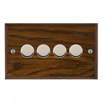 Hamilton Woods Chamfered Dark Oak 4 Gang Multi-way 250W/VA Dimmer with Bright Chrome Insert
