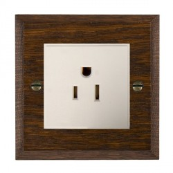 Hamilton Woods Chamfered Dark Oak 1 Gang 15A 127V American Unswitched Socket with White Insert