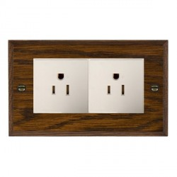 Hamilton Woods Chamfered Dark Oak 2 Gang 15A 127V American Unswitched Socket with White Insert