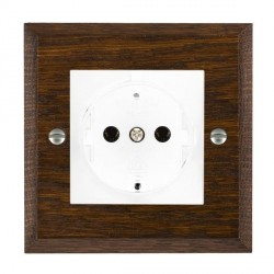 Hamilton Woods Chamfered Dark Oak 1 Gang 10/16A German Unswitched Socket with White Insert