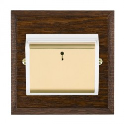 Hamilton Woods Chamfered Dark Oak 1 Gang On/Off 10A Hotel Card Switch with White Insert