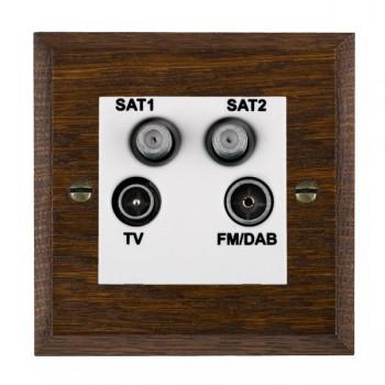 Hamilton Woods Chamfered Dark Oak 1 Gang TV + 1 Gang Satellite + 1 Gang Satellite + 1 Gang FM Outlet with White Insert