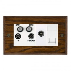 Hamilton Woods Chamfered Dark Oak 1 Gang TV, 2 x 1 Gang Satellite, 1 Gang FM, 1 Gang TV Slave, 1 Gang TV ...