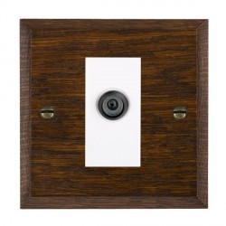 Hamilton Woods Chamfered Dark Oak 1 Gang Digital Satellite 'F' Type Outlet with White Insert