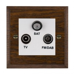 Hamilton Woods Chamfered Dark Oak 1 Gang TV + 1 Gang FM + 1 Gang Satellite Outlet with White Insert
