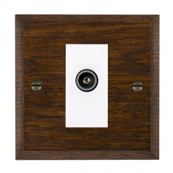 Hamilton Woods Chamfered Dark Oak 1 Gang TV (Female) Outlet with White Insert