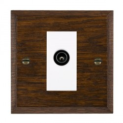 Hamilton Woods Chamfered Dark Oak 1 Gang TV (Male) Outlet with White Insert