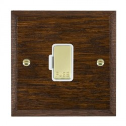Hamilton Woods Chamfered Dark Oak 1 Gang 13A Fuse Only with White Insert