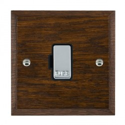 Hamilton Woods Chamfered Dark Oak 1 Gang 13A Fuse Only with Black Insert