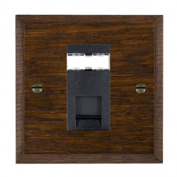 Hamilton Woods Chamfered Dark Oak 1 Gang RJ12 Outlet Unshielded Outlet with Black Insert