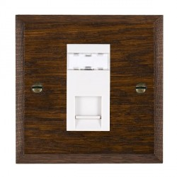Hamilton Woods Chamfered Dark Oak 1 Gang RJ45 Cat 5E Unshielded Outlet with White Insert