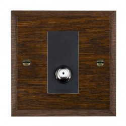 Hamilton Woods Chamfered Dark Oak 1 Gang Isolated Digital Satellite Outlet with Black Insert