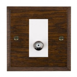 Hamilton Woods Chamfered Dark Oak 1 Gang Isolated Digital Satellite Outlet with White Insert
