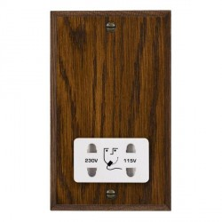 Hamilton Woods Chamfered Dark Oak Dual Voltage Shaver Socket with White Insert