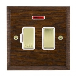 Hamilton Woods Chamfered Dark Oak 1 Gang 13A Fused Spur, Double Pole + Neon with White Insert