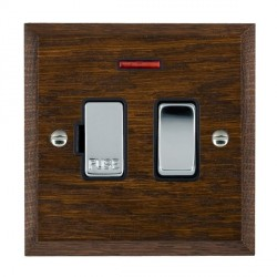 Hamilton Woods Chamfered Dark Oak 1 Gang 13A Fused Spur, Double Pole + Neon with Black Insert