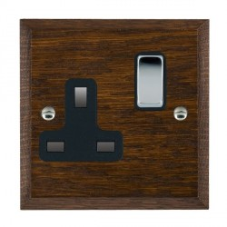 Hamilton Woods Chamfered Dark Oak 1 Gang 13A Switched Socket with Black Insert