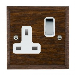 Hamilton Woods Chamfered Dark Oak 1 Gang 13A Switched Socket with White Insert